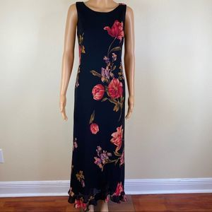 Vintage Positive Attitude Flower Print Maxi Dress